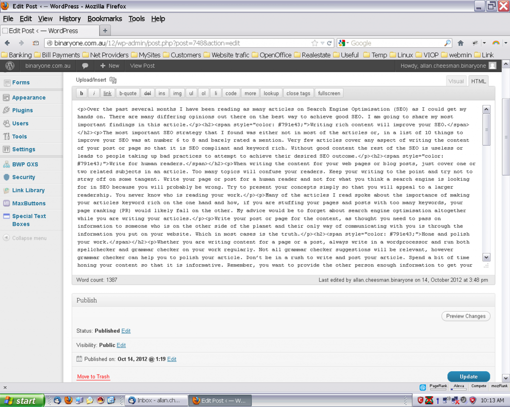 An image of the WordPress HTML editor displaying incorrectly.