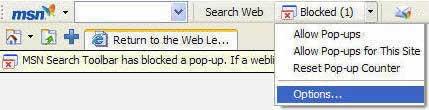 Popup Blocker MSN Options